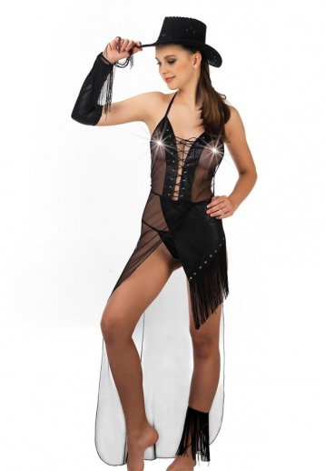 Lame Deri Kovboy Kadın Kostümü