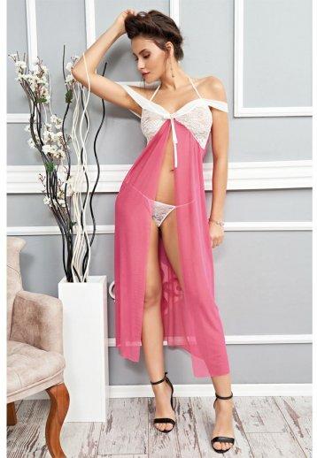 Sexy Pembe Gecelik Uzun Fantazi Giyim