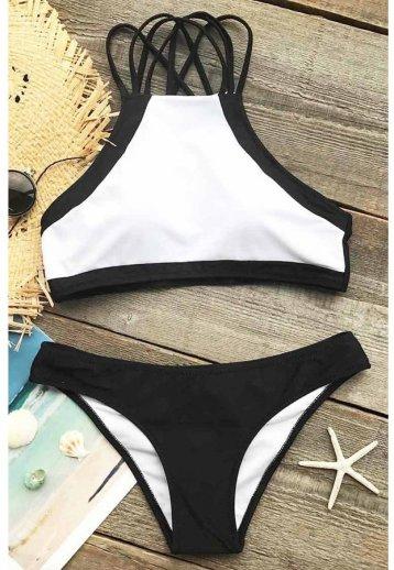 Angelsin Beyaz Siyah Alt Bikini