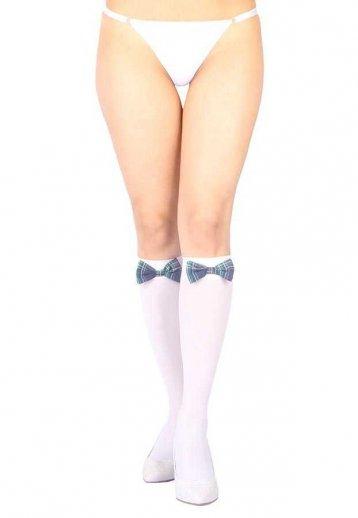 Diz Altı Mavi Ekose Kurdeleli Fantazi Çorap Ve G String Seti