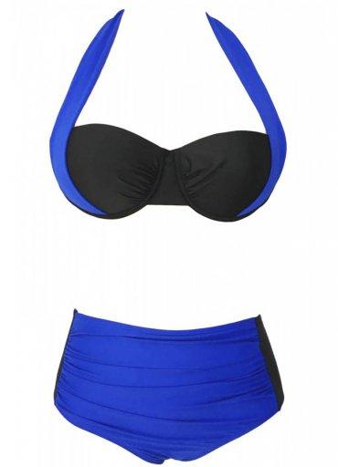 Kaplı Mavi Siyah Şık Yüksek Bel Bikini - 130 TL