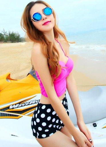 Yüksek Bel Puantiyeli Şık Bikini Alt - 65 TL