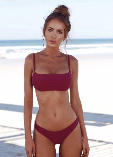 Angelsin Bordo Şık Bikini Takım - 0545 356 96 07