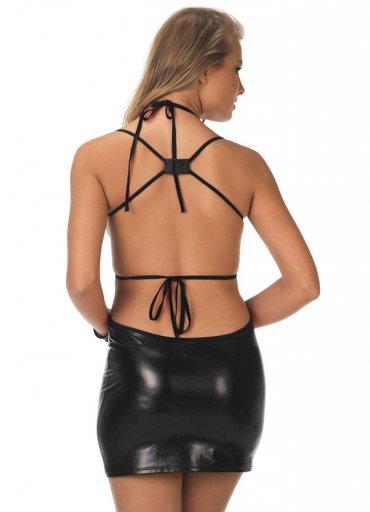 Deri Elbise Dekolte Sexy Fantazi Giyim