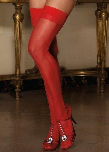 Kırmızı Dantelsiz Jartiyer Çorabı - 0545 356 96 07