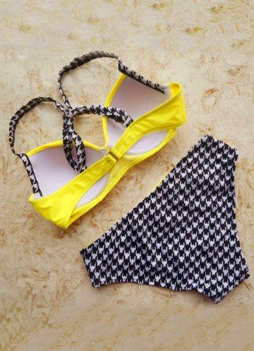 Angelsin Sarı Desenli Bikini Alt - 0545 356 96 07