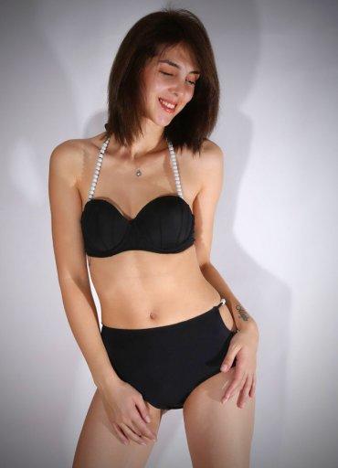 Angelsin Siyah Boncuklu Şık Bikini - 120.7872 TL