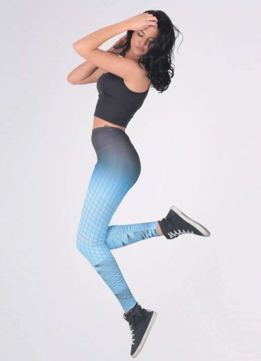 Çizgili Mavi Sporcu Kadın Tayt - 0545 356 96 07
