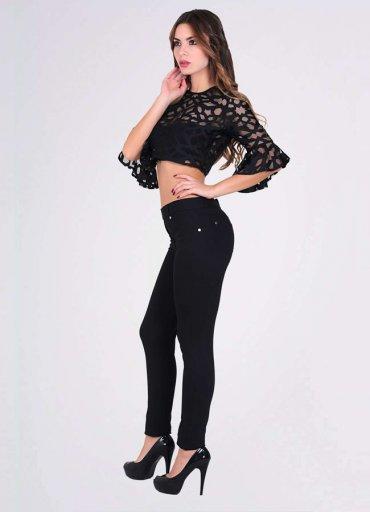 Fermuarlı Kadın Siyah Tayt Pantolon - 0545 356 96 07