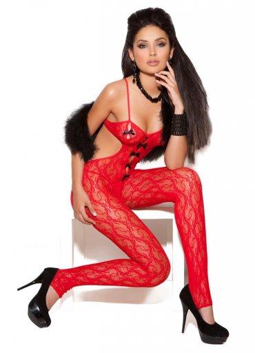 Kurdeleli Kırmızı Vücut Çorabı - 0545 356 96 07
