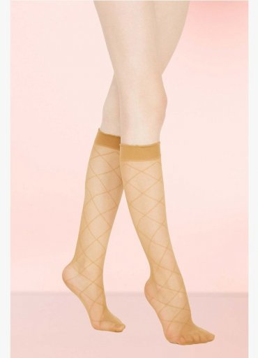 Baklava Desen Dizlatı Çorabı