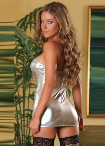 Parlak Gümüş Renkli Fantazi Elbise - 98 TL