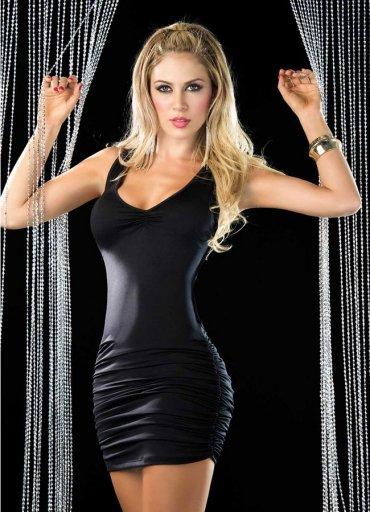 Siyah Arkası Çapraz Şık Elbise - 0545 356 96 07