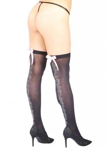 Parlak Taş Tasarımlı Ve Beyaz Kurdeleli Seksi Çorap - 0545 356 96 07