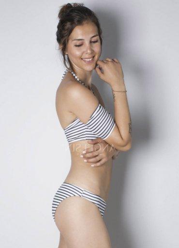 Angelsin Çizgili Şık Straplez Bikini Takımı