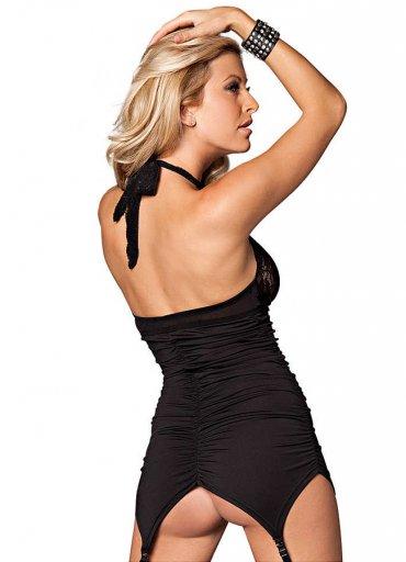 Dantel Motifli Sexy Siyah Body