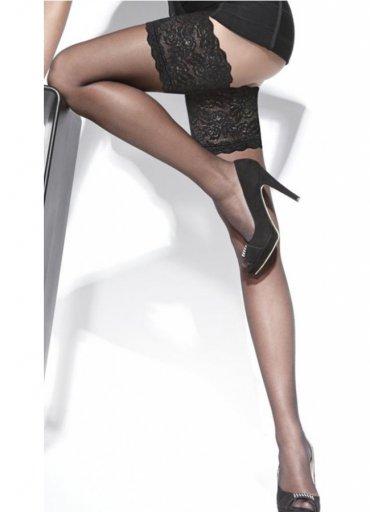 Siyah Düz Silikonlu Dantelli Jartiyer Çorap - 30 TL
