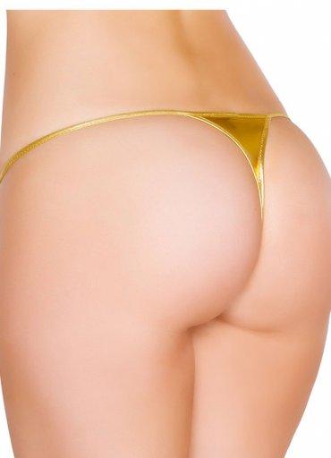 Gold Deri Görünümlü Tanga