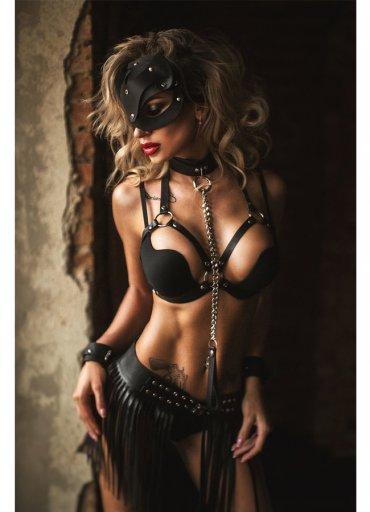 Pusy Cat Maskeli Deri Kostüm - 325 TL