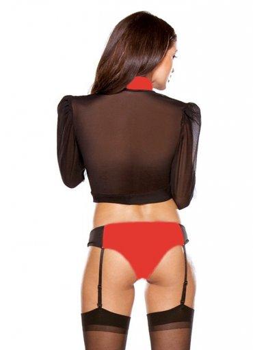 Jartiyerli Kırmızı Barmen Kostümü