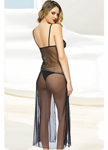 Siyah Tül Fantazi Giyim Uzun Gecelik - 65 TL