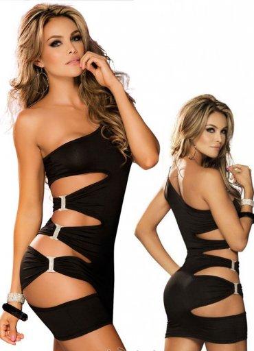 Siyah Taşlı Aksesuarlı Sexy Fantazi Elbise - 0545 356 96 07