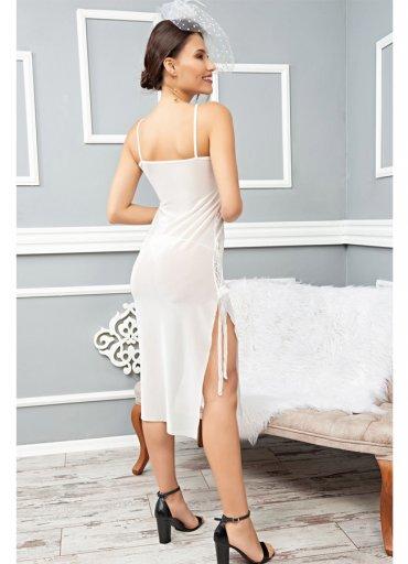 Uzun Beyaz Seksi Gecelik Fantazi Giyim - 0545 356 96 07