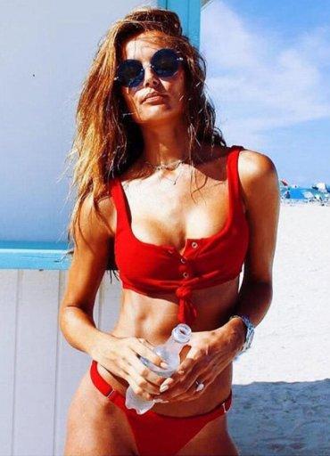 Angelsin Kırmızı Şık Bikini Takım - 110 TL