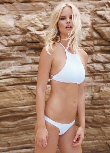 Angelsin Şık Beyaz Tankini Bikini Üst
