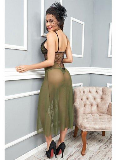 Yeşil Uzun Tül Gecelik Seksi Kadın Giyim - 0545 356 96 07