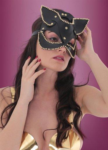 Taşlı Deri Sexy Cat Fantazi Maske - 0545 356 96 07