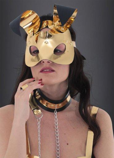 Gold Deri Tavşan Kız Fantazi Maske - 0545 356 96 07