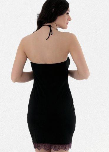 Siyah Straplez Askılı Fantezi Elbise