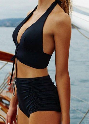 Siyah Yüksek Bel Bikini Takımı - 0545 356 96 07