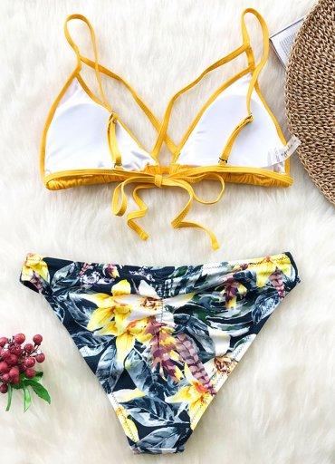 Angelsin Baskılı Üstü Sarı Bikini Takım - 130 TL