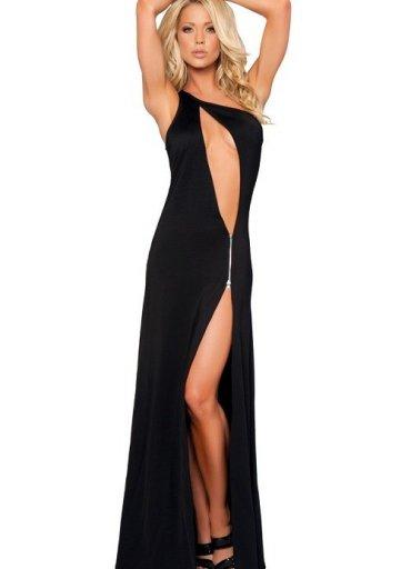 Fantazi Siyah Fermuarlı Gece Elbisesi - 0545 356 96 07