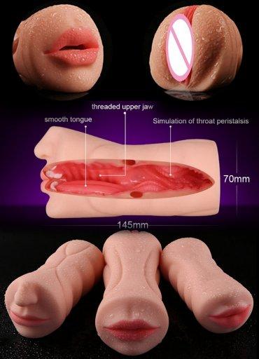 Gerçek Doku Oral ve Vajina Mastürbatör