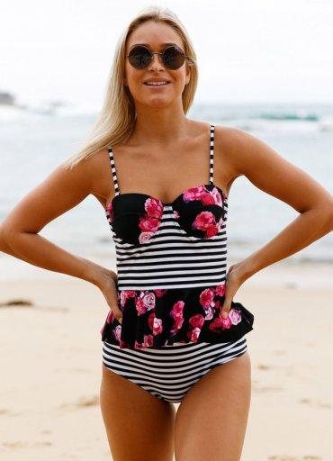 Yüksek Bel Etek Gürünümlü Destekli Bikini Takım - 125 TL