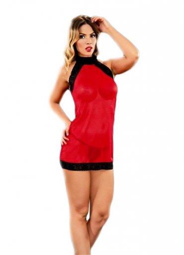 Fantezi Gecelik Kırmızı Transparan - 0545 356 96 07