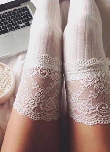 Parfümlü Dantelli Örgü Diz Üstü Jartiyer Çorap