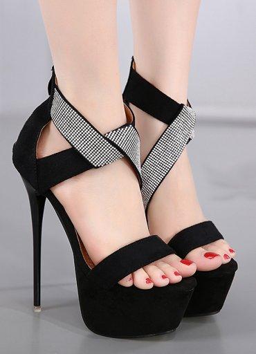 Siyah Sandalet Sexy Fantazi Ayakkabı