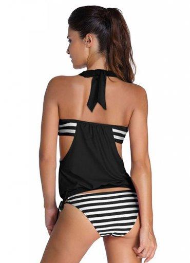 Siyah Beyaz Kalın Cizgili Bikini Tek Alt - 0545 356 96 07