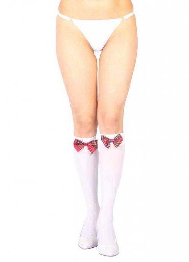 Diz Altı Kırmızı Ekose Kurdeleli Çorap Ve G String Seti - 0545 356 96 07