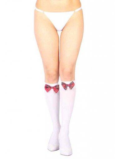Diz Altı Kırmızı Ekose Kurdeleli Çorap Ve G String Seti - 40 TL