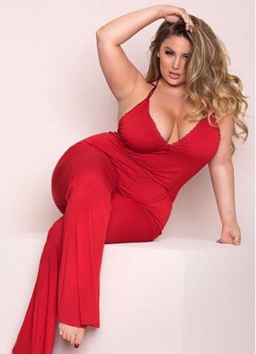 Büyük Beden Kırmızı Pijama Takım - 0545 356 96 07