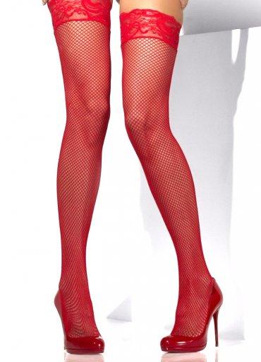 Jartiyer Çorabı Kırmızı Fileli Dantel