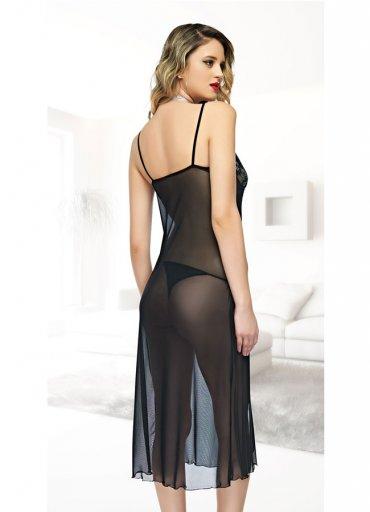 Siyah Uzun Gecelik Seksi Kadın Giyim - 0545 356 96 07