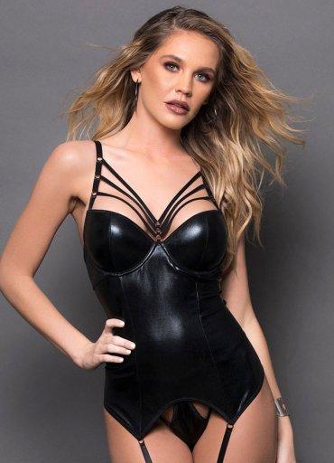 Sexy Deri Bralet Jartiyer Takım - 0545 356 96 07