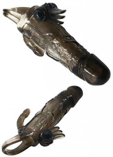 Siyah Penis Kılıfı Klitoris ve Anal Uyarıcılı