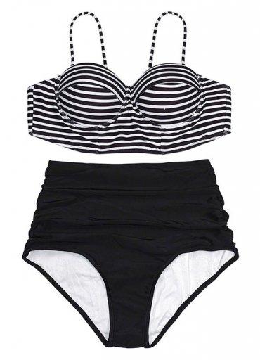 Siyah Beyaz Üstü Çizgili Bikini Üst